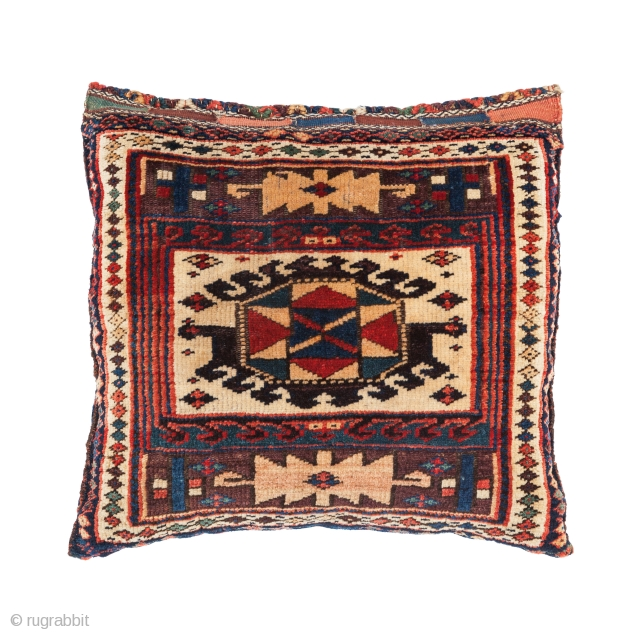 Kurdish cushion, Late 19th century, Excellent condition, All natural colours with good pile, not restored, Size: 51 x 55 cm. ( 20.3 x 21.6 inch ), www.sadeghmemarian.com