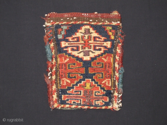 Shahsavan Small sumac bag, Late 19th century, Great and original condition, Not restored, Size: 19 x 15 cm. (7.5 x 6 inch).