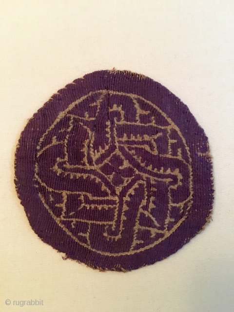 Coptic fragment wool and linen 3.5 inches across the middle.