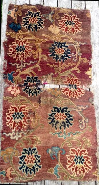 Very beautiful Tibetan lotus design fragmented Khaden, 170 x 86 cm.