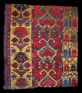 Ersari border fragment from main carpet mid 19th century. 66 x 73 cm