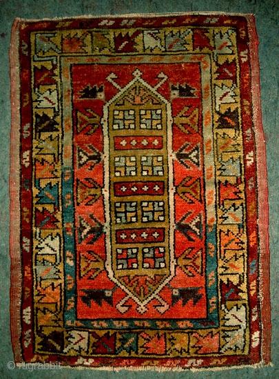 WA Anatolia yastik. Yesilova - Denizli area. 50 x 72 cm, circa 1915. High pile, rare pattern. More info if you ask.