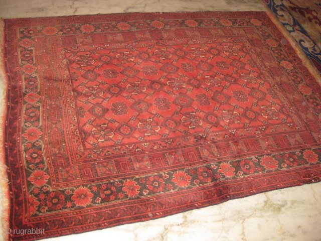 Old Afghan rug size: 4 x 5 ft condition: mint.
