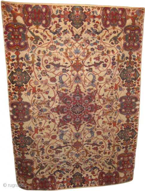 Fine Indian Carpet in low pile and repaired on minor area's, size: 6 x 4 ft.