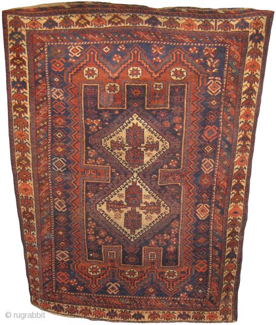 Afshar rug needs minor repair measuring 4.11 x 3.8 ft.