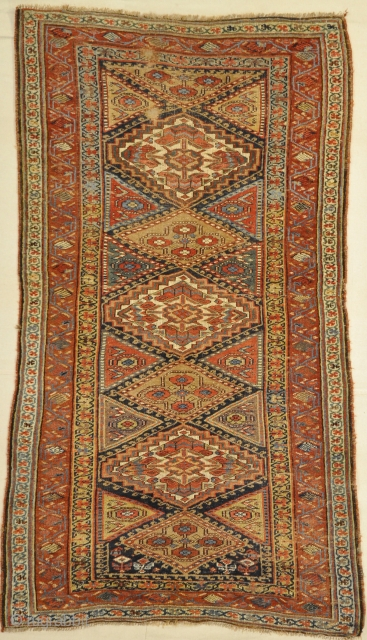 Antique Kurdish Camel Hair, possibly Bijar. Wool pile on wool foundation, second-half 19th century. All natural dyes.