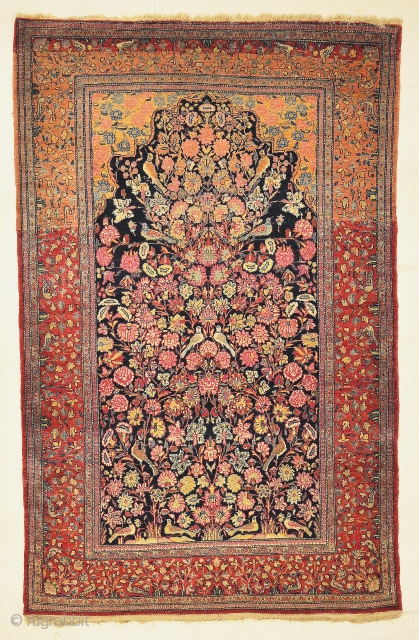 Antique Dabir Kashan Tree of Life Rug