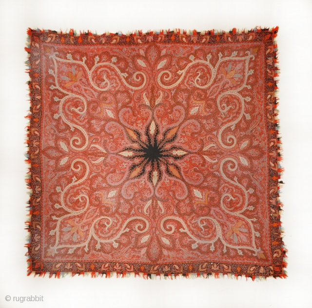 """Rasht Embroidery Circa 1850 - 5'8"""" x 5'9""""  The finest hand-knotted and natural dyed fibers."""
