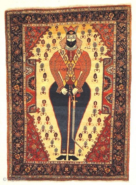 Antique Sarouk Farahan Very Rare Shahpour Figure Genuine Handmade Woven Carpet Art Natural Dyed Wool