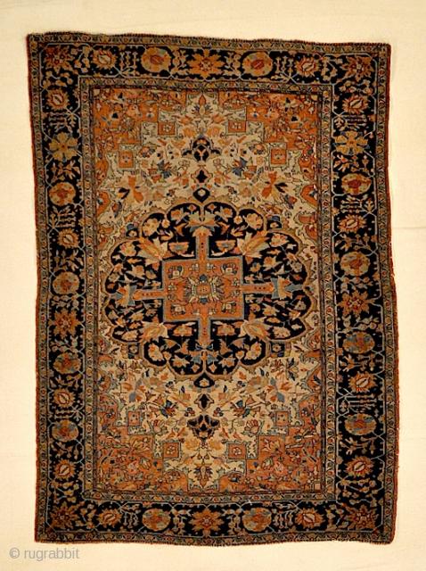 "Small Antique Persian Sarouk Farahan Genuine Woven Carpet Art Authentic Intricate Design Superb Craftmanship  3'4"" x 4'3"""