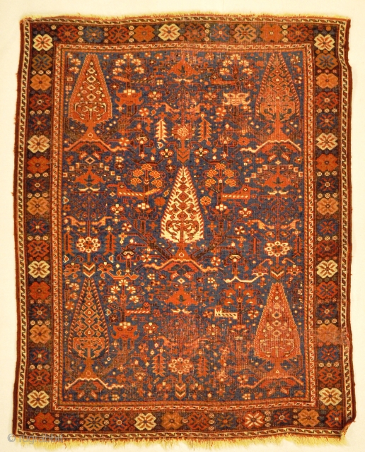 Antique South West Persian Cypress Afshar Rug ca 1880