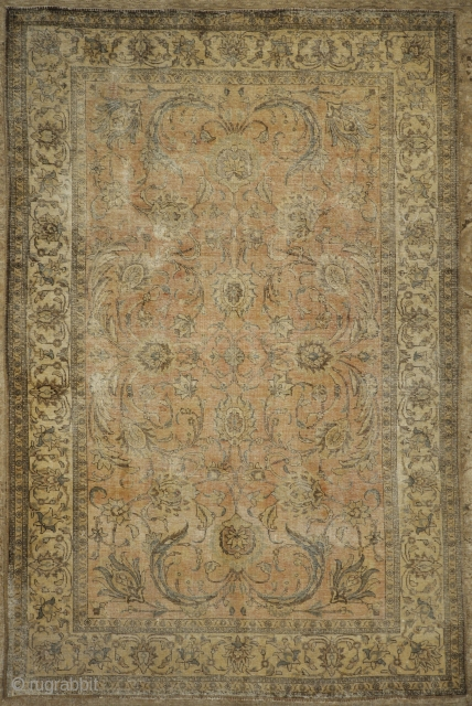 Antique Beige and Pink Persian Tabriz Genuine Authentic Intricate Woven Carpet Art