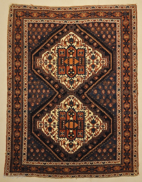 Antique Persian Afshar Medallion Botteh.Antique Persian Afshar Medallion Botteh are similar to antique Caucasian rugs in their rug colors and styles. Using geometric patterns, medallions with diamond patterns and pomegranate vases. Antique  ...