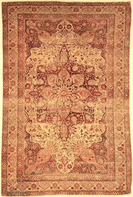 Rare Unique Kerman Area Rug are so elegant and sumptuous, and continued by Toranj motif border which is surrounded by margins and minor and narrow lines. In the world of antique Persian  ...