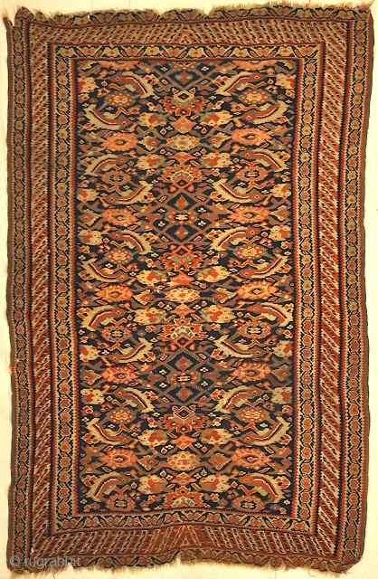 Antique Persian Bijar Rug Woven 19th Century