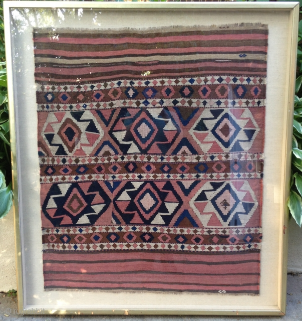 A late 19th century Shahsavan kilim made from two mafrash bag side panels stitched together. Appears to be dyed with a combination of natural and synthetic dyes. Several visually interesting, historic repairs.  ...