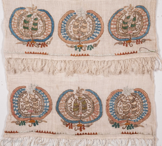 Ottoman Turkish Embroidered Peshkir / towel 46 x 111 cm / 1'6'' x 3'7''