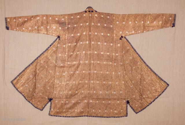 Central Asian, Uzbek silver Brocaded Chapan ( Backed on linen )