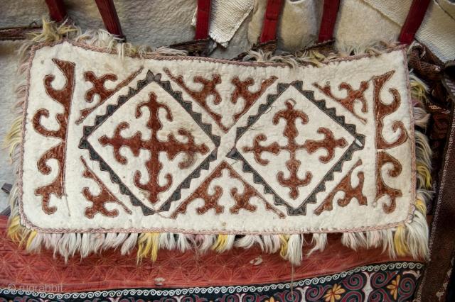 Kazakhstan, Cenral Asian ( non-Turkmen), pillow outdoor in Yurt,felt, cotton, 100 X 45 cm. 1940