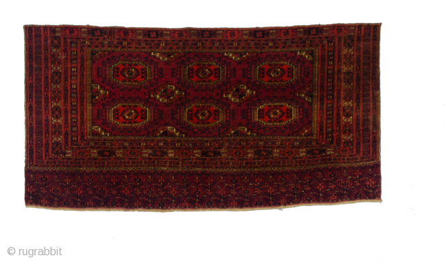 Antique Turkmen 74x147cm Small patch and some wear as shown in the images, otherwise good pile.