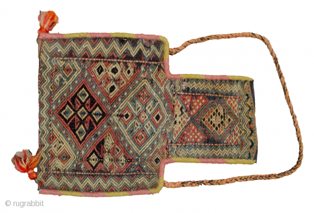 Attractive antique Azarbijan saltbag 50x40cm. The binding and the strap are new.  More Info: https://sharafiandco.com/product/antique-azarbijan-saltbag-50x40cm/