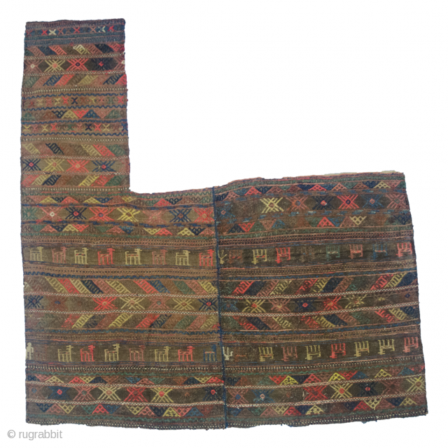 One for the horse lovers from a horse loving tribe. Very charming antique Kurdish horse balnket in very good condition.104x165cm