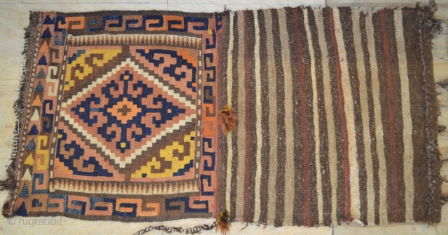20th century Afghanistan Maimana Kilim Bag 103x52cm with very pretty colours, some synthetic, as seen in images.