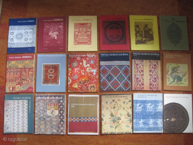 Books: 18 original issues of Textile Museum Journal: 1963+1964+1966+1967+1968+1969+1970+1971+1972+1973+1974+1975+1976+1977+1978+1979+1980/81+1982  18 issues of this renown museum publication including many articles on oriental rugs and worldwide (tribal) textiles (with many Pre-Columbian and Coptic) including their  ...
