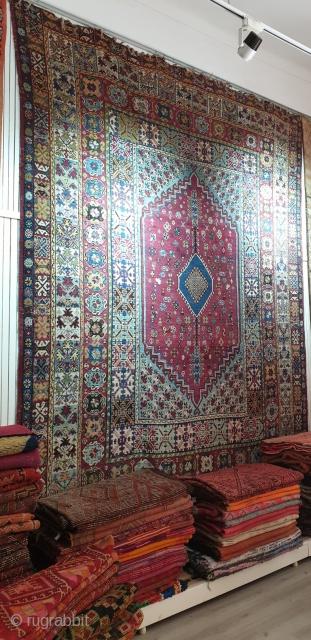 "Fine Antique Moroccan rug ""Rabat"" rich in primitive symbols..Early XXth century..375 × 300 cm (11 by 9 feet)"