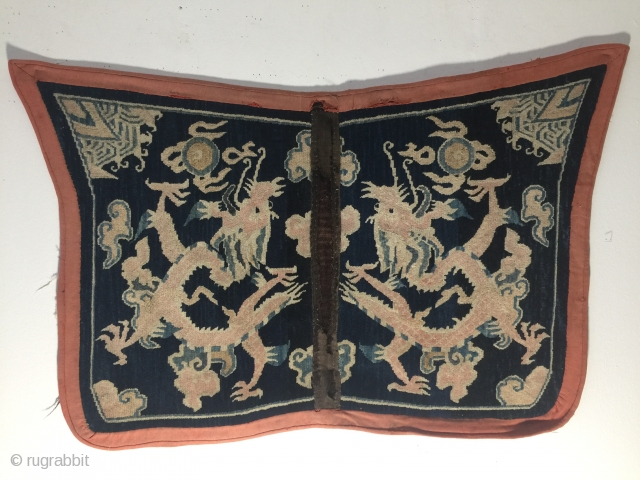 antique 19 th century Tibet saddle cover butterfly typ two dragons size 123 / 70 cm