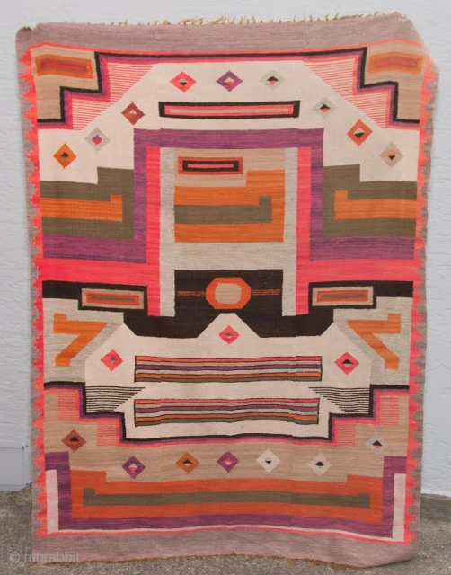 20th century bolivian Blanket/Tapestry  tea dyed cotton warp 1ply