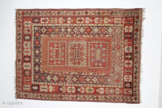 antique Southwest Anatolia melas  prayer rug  127 cm x 220 cm