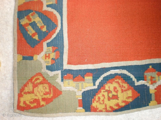 18th century North german Frisians pictorialtapestry Rollakan slit weave natural dyes warp 3 ply Linen  size 100 cm x 89 cm the picture is just a detail you are welcome to ask  ...