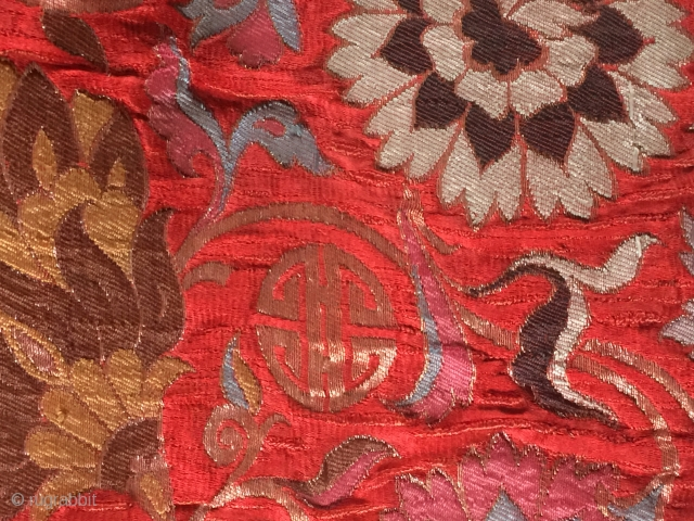17/18 th c China  brocade silk gold size 62 cm x 74 cm made to a seatmat pillow from East Tibet monastery