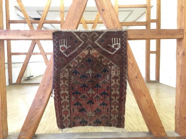 Antique 19th century beshir Uzbekistan prayer Rug fragment 90 cm x 63 cm
