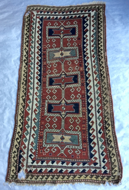"1880s or earlier 3' 8"" - 4' 1"" x 7' 9"" Kazakh in need of restoration.  Quote includes shipping/U.S.  3 day returns policy."