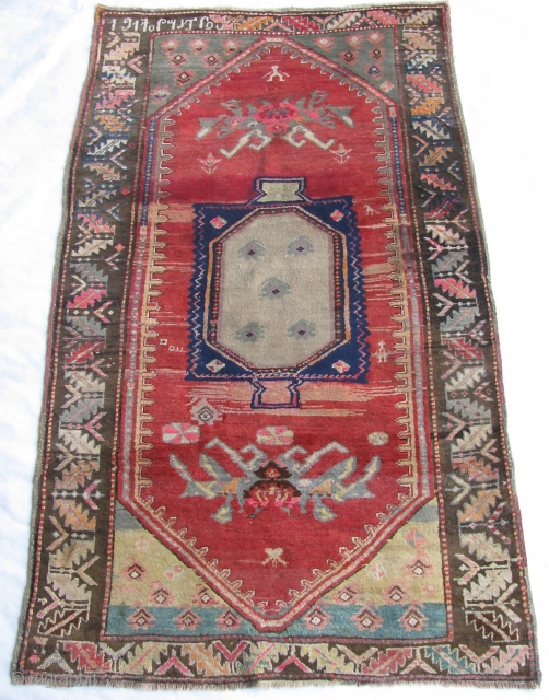 """4' 0"""" x 6' 9"""" Dated Armenian Karabagh in great pile condition.  3 small areas of restoration along the ends.  Free Ship/U.S.  3 day returns policy.  Sorry, no  ..."""