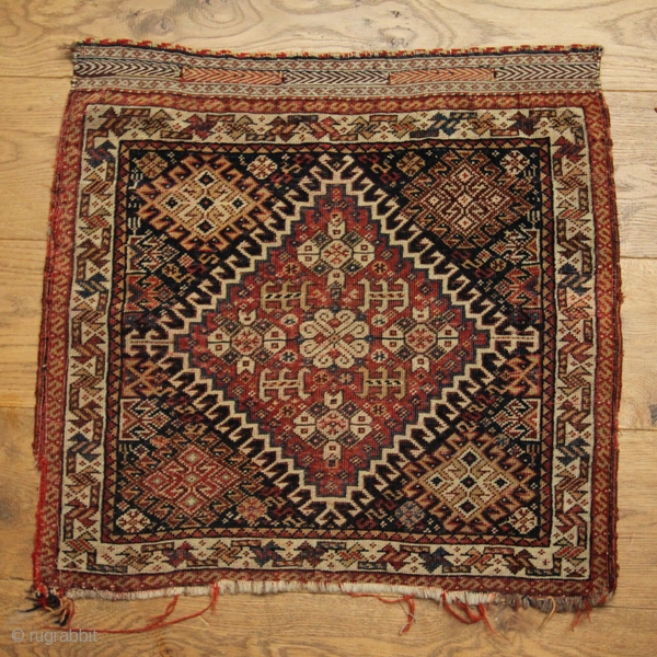 Qasghai bag face, late 19th Century.  In good condition with nice dyes, quite a fine piece which still has the kilim weave intact. Revised lower price!
