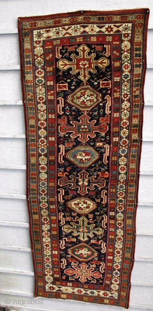 "Shahsevan Gallery Rug / Moghan steppe, west of the Talish mountains. Excellent condition, with original kel:m ends and selvedges. Red wefted, with a very well executed weave.  Circa 1870-80. Size; 9\'7""  ..."