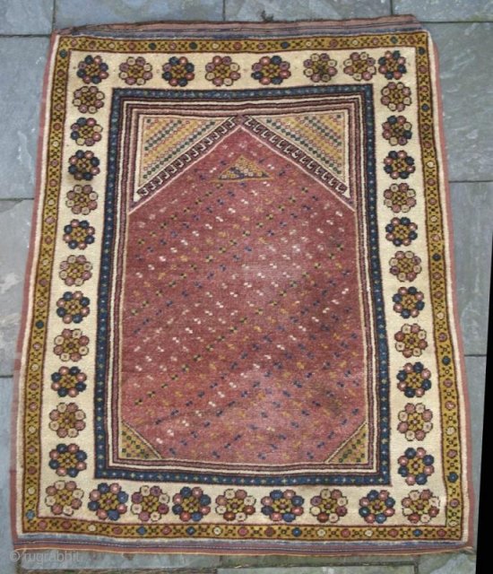 "ANTIQUE MONASTIR PRAYER RUG, Turkish Balkans, circa 1850 Size: 3'6"" x 4'6"" Condition / Description: This is a 150 year old prayer rug woven in the Balkans by people of Turkish descent.  ..."