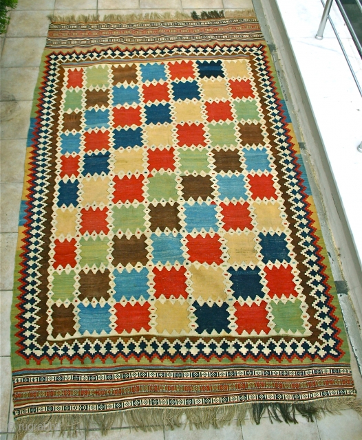 """Brilliant Kashkai Kelim.  Mint condition, NO RESTORATION. Great size too; 1.64 x 2.78 m. (5'4""""x 9') Circa 1875. Think it's as good as these get, a jewell. Wonderful colors!"""