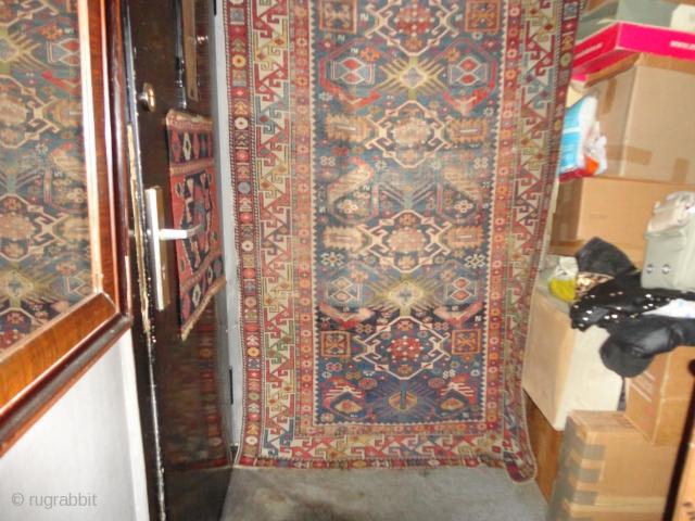 Antique  Kaukasien  Shirwan rug  19  century .123 X 213  cm. complet , shows wear .