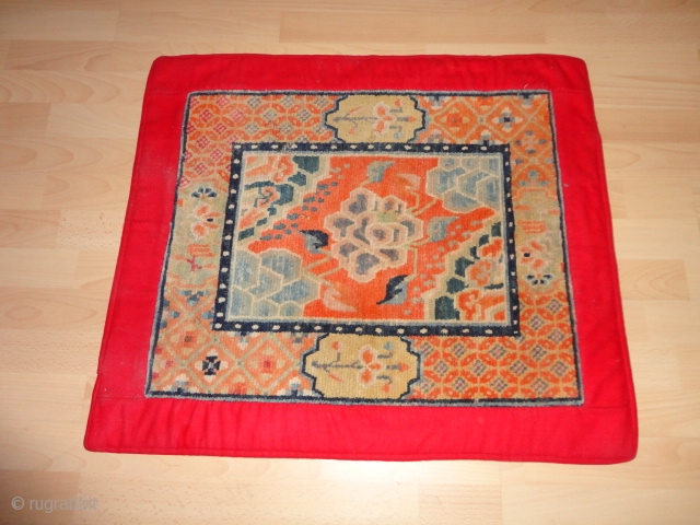 Fine  antik  Tibet  rug / Mat  66 X 75  cm.  High  wool  quality , rare  pattern ,