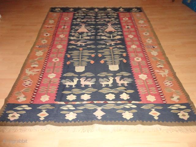 Very rare  antique  and  dekorative  Thracian  Kelim round 1900      175 X 231  cm.  Few  inconspisius small  stains on  ...