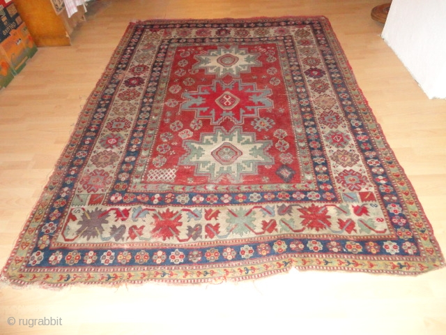 Antique   Kasack  rug  , mid  19 th. century   178 X 235 cm.    Lustros wool  ,  superb natural  colours ,  ...