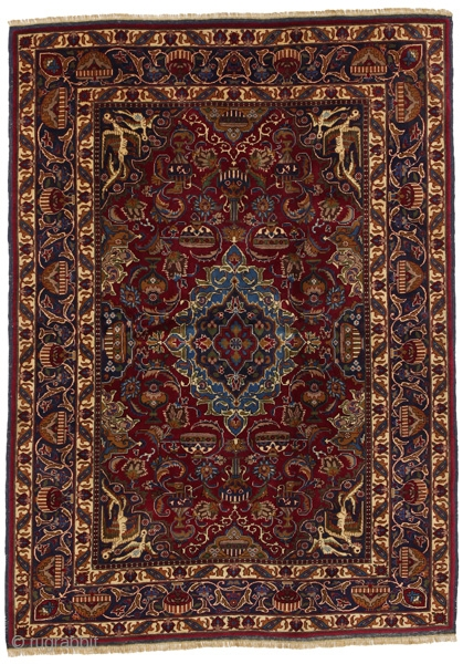 "Mashad Persian Carpet 5'7""x4'1""(172x125cm) See more details here: https://www.carpetu2.com/id/ant189-1323/Antiques,Offers,Mashad,/?lan=int"