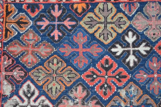Meshkin rug Northwest Persia, as found condition, rare quadrat format 147 x 123 cm, beautiful (suspicious fuchsin!) colors. ca.1900