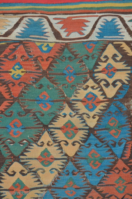 Central Anatolian Kilim with Elibelinde patterns, 358 x 92 cm. Rare piece with great colors.