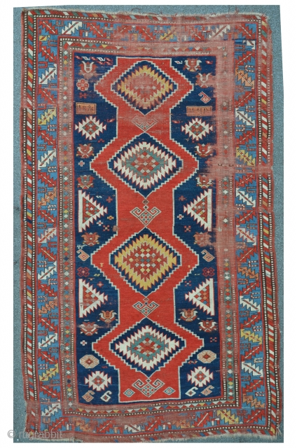 Antique Caucasian carpet, dated 1896, as found condition, 237 x 144 cm