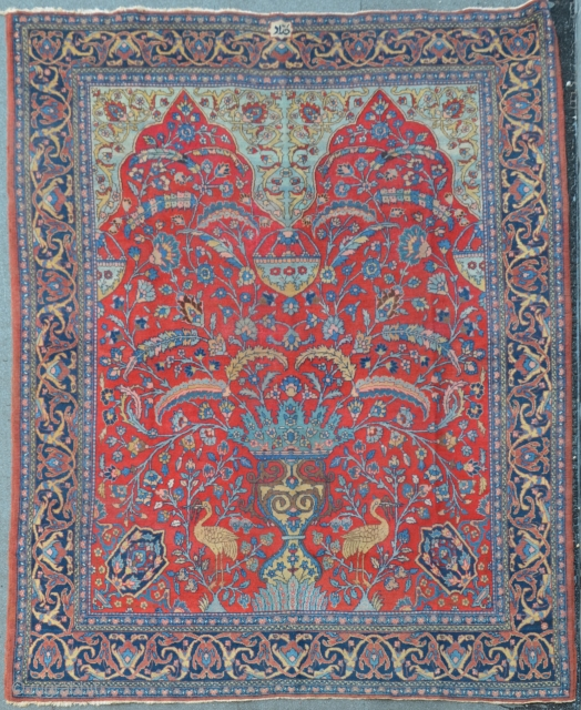 "Antique Tabriz with Vase & double Mihrab composition, ca.1910, signed ""Hadad"" (Sheik Hassan) 375 x 270 cm"